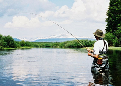 Man fishing at Stewarts lodge